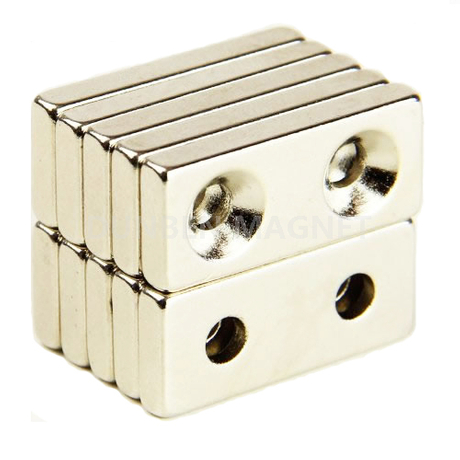 N42 Rectangle Neodymium Magnet with two countersunk hole