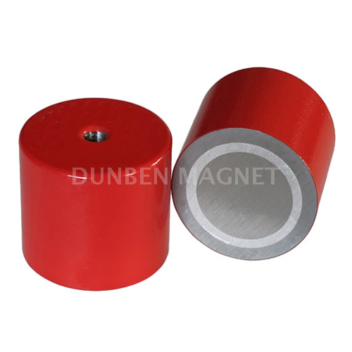 Alnico deep pot holding magnet with inner thread ,Holding Pot Magnet with red enamel lacquered coating, and internal threaded, Red AlNiCo Deep Pot magnets