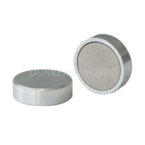 Flat SmCo Shallow Pot Magnet,High Working Temperature Samarium Cobalt Flat Cup Magnets,Samarium Cobalt Blind Ended Shallow Pots, SmCo Glue-in pot magnets, Flat SmCo Gripper