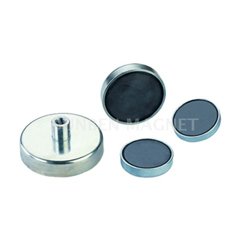 Ferrite Pot Magnet with Screwed Bush , Ferrite Round Base Pot Magnet with Internal Female Threaded (Boss Mounting) , Ferrite Shallow Pot Threaded Bushing,Ferrite(Ceramic) Pot magnets with screw socket
