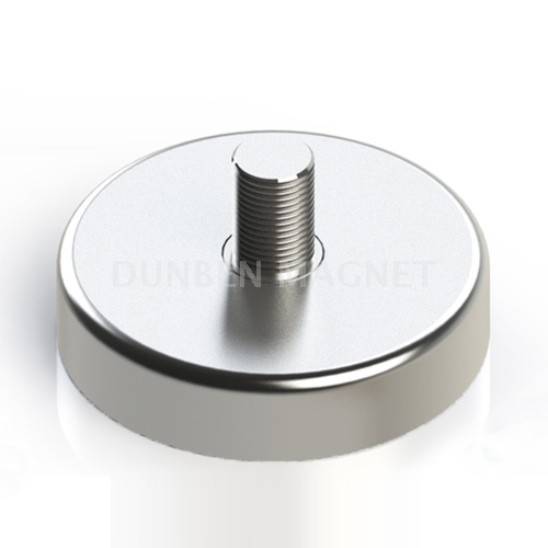 Ni Coating Powful Neodymium Round Base Magnet with External Thread,Powerful Magnetic Holding Pot Magnet ,Holding Power Neodymium Cup Magnet
