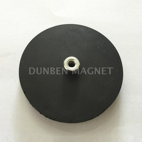 Rubber Coated Magnetic Cup Assemblies,Neodymium Magnetic System with Screwed Bush and Rubber Coat,Magnet Systems with Internal Thread ,Rubber Covered Magnetic Systems with Screw Thread