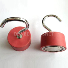 Rubber Coated Magnetic Hooks, Red Rubber Coated Powerful Permanent Neodymium Magnetic Hooks, Rubber Coated Hook Clamping Magnets , Rubber Covered Hook Magnets
