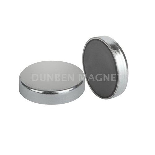 Ferrite Flat Pot Magnets, Ferrite Flat Holding Pot Magnets, Ferrite Blind Ended Shallow Pot Magnet , Ferrite magnets in steel pot, Glue-in ferrite pot magnets, Ceramic flat pot magnet