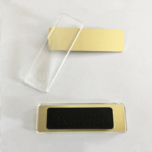 Magnetic Acrylic Badge Holder, identity name plate tag glass plastic conference magnet name badge holders shop office ID cards tag badge